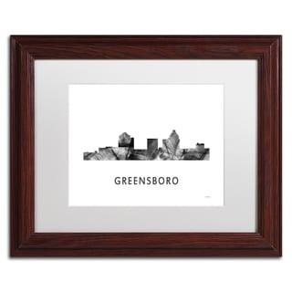 Marlene Watson 'Greensboro NC Skyline WB-BW' Matted Framed Art