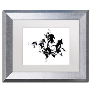 Robert Farkas 'Black Horses' Matted Framed Art