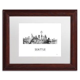 Marlene Watson 'Seattle Washington Skyline WB-BW' Matted Framed Art
