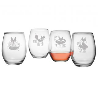 Infoxicated Assortment Stemless Wine Glass (Set of 4)