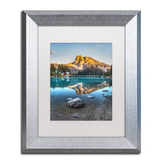 Pierre Leclerc 'Emerald Lake Sunset' Matted Framed Art