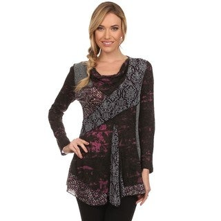 High Secret Women's Purple Patchwork Cowl Neck Tunic