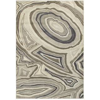 Plush Abstract Marbled Ivory/Grey Area Rug (6'7 X 9'6)