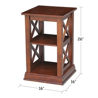 Hampton Espresso Parawood and Butcher Block Accent Table with Shelves