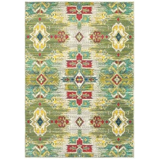 Multicolored Polypropylene Ikat Area Rug (6' 7 x 9' 6)
