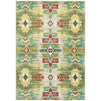 Ikat Stone/ Green Synthetic Fiber Traditional Area Rug - 5'3 x 7'6