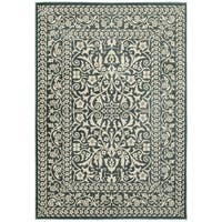 Two-tone Floral Traditional Blue and Ivory Area Rug (6'7 X 9'6)