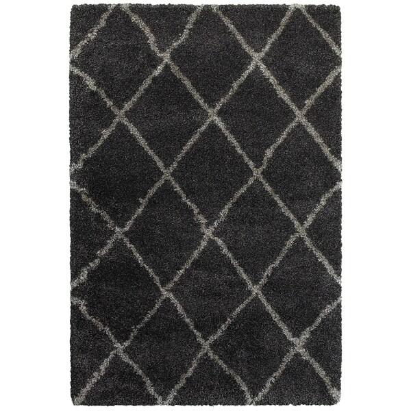 "Porch & Den Suncrest Charcoal Lattice Shag Area Rug - 6'7"" x 9'6"""