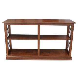 Hampton Sofa Brown Wood Server Table with Shelves