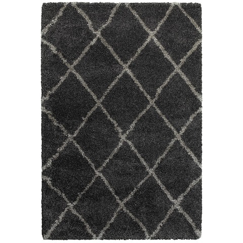 Porch & Den Suncrest Charcoal Lattice Shag Area Rug