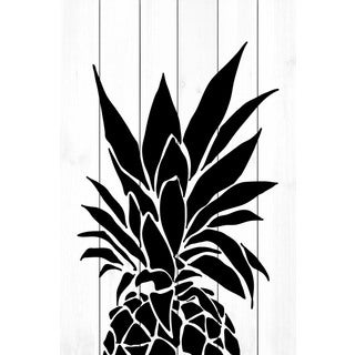 Marmont Hill - 'Black Pineapple' by Diana Alcala Painting Print on White Wood