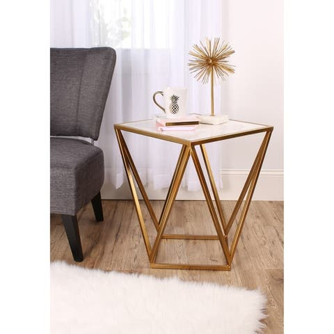 Maia Metal Modern Side Accent Table with Marble Top