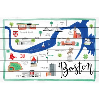 Marmont Hill - 'Boston Map' by Molly Rosner Painting Print on White Wood