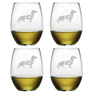 Festive Dachshund Stemless Wine Glass (Set of 4)