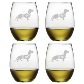 Festive Dachshund Stemless Wine Glass (Set of 4)