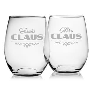 Santa & Mrs. Claus Stemless Wine Glass (Set of 2)