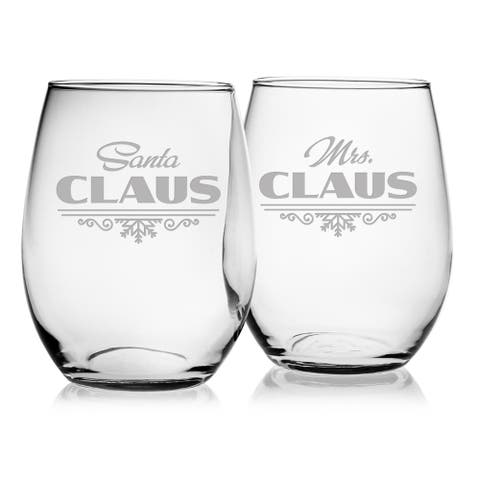 Santa & Mrs. Claus Stemless Wine Glass (Set of 2)
