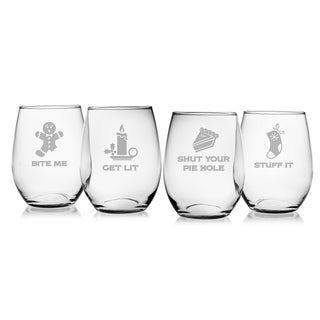 Crotchety Christmas Assortment Stemless Wine Glass (Set of 4)