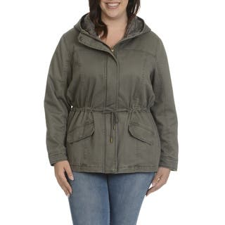 Ashley Women's Junior Multicolor Polyester Plus-size Hooded Anorak Jacket|https://ak1.ostkcdn.com/images/products/12958419/P19708179.jpg?impolicy=medium