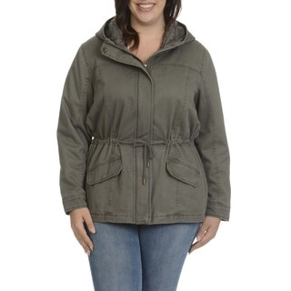 Ashley Women's Junior Multicolor Polyester Plus-size Hooded Anorak Jacket