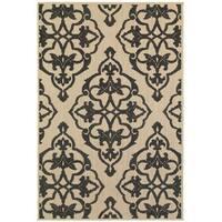 StyleHaven Medallion Sand/ Charcoal Indoor-Outdoor Area Rug (5'3x7'6)