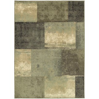 Scrapbook Blocks Green/Brown Synthetic/Polypropylene Area Rug (6'7 x 9'3)