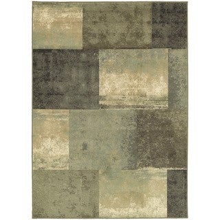 "Carbon Loft Liepmann Scrapbook Blocks Green/ Brown Area Rug - 6'7"" x 9'3"""