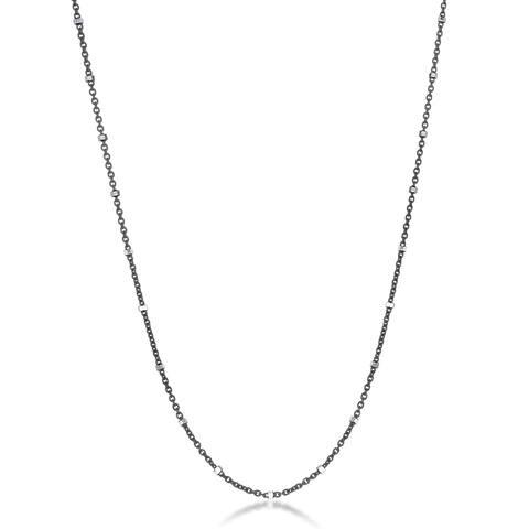 La Preciosa Sterling Silver Black Rhodium Diamond Cut Station Italian Chain