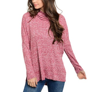 JED Women's Cowl Neck Ribbed Long Sleeve Relax Fit Knit Sweater Top