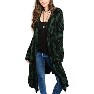 JED Women's Green Acrylic and Mohair Blend Cardigan Sweater with Oversized Hood