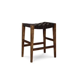 A.R.T. Furniture Echo Park Brown Wood and Veneer Woven Stool