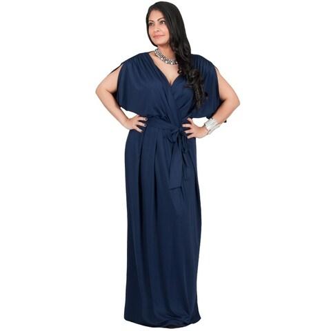 Adelyn & Vivian Plus Size Womens Short Sleeve V-Neck Maxi Dress