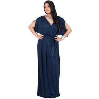 Adelyn & Vivian Women's Solid-colored Polyester and Spandex Plus-size Long Maxi Dress