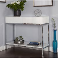 Simple Living White Wood and Chrome Metal High Gloss Console Table - N/A