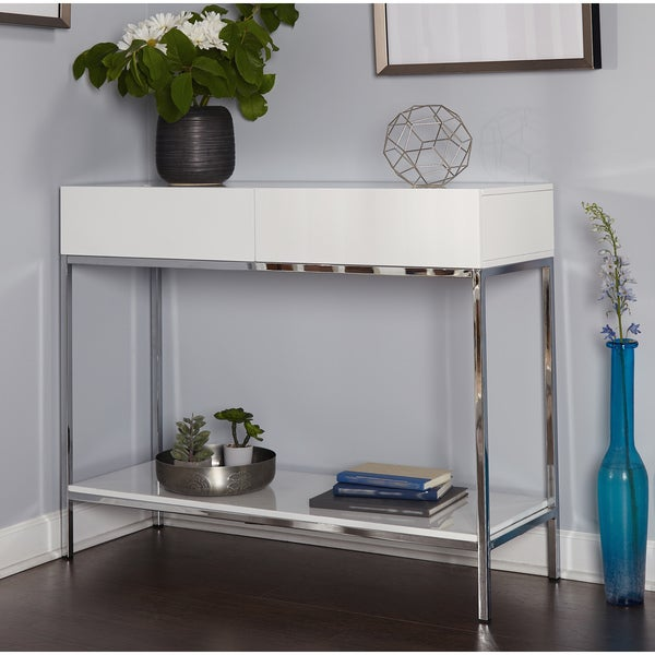 Beautiful Simple Living White Wood And Chrome Metal High Gloss Console Table