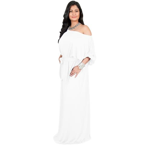 Adelyn & Vivian Womens Polyester Plus-size Long Off-shoulder Cocktail Party Maxi Dress