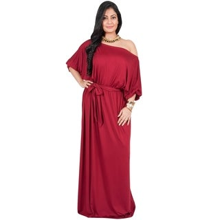 Adelyn & Vivian Women's Polyester Plus-size Long Off-shoulder Cocktail Party Maxi Dress