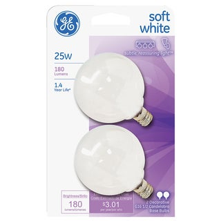GE Lighting 44412 25 Watt White Vanity Globe Light Bulbs 2 Count