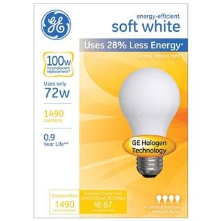 GE Lighting 66249 72 Watt A19 Soft White Halogen Light Bulb Pack 4 Count