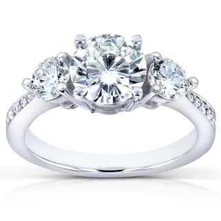 Annello by Kobelli 14k White Gold Certified 1 3/5ct TDW Diamond Eco-Friendly Lab Grown Diamond Three