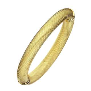 Isla Simone - 18 Karat Yellow Gold Electro Plated 10Mm Gold Plated Mesh Textured Bangle