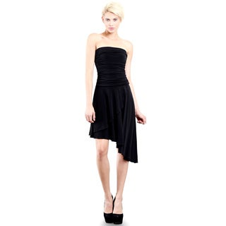 Evanese Women's Black Polyester/Spandex Cocktail Party Strapless Tube Dress with Asymmetrical Skirt