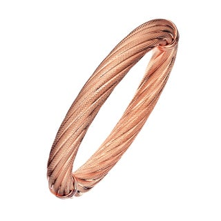 Isla Simone - 18 Karat Rose Gold Electro Plated 10MM Twisted Textured Bangle