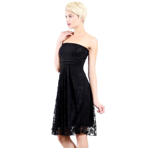 Evanese Women's Black Polyester Lace Strapless Tube Cocktail Party Dress