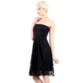 Evanese Women's Black Polyester Lace Strapless Tube Cocktail Party Dress|https://ak1.ostkcdn.com/images/products/12958663/P19708379.jpg?impolicy=medium