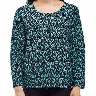 La Cera Women's Plus-size Polyester and Spandex Printed Pullover Top