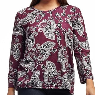 La Cera Women's Polyester Plus-size Pullover Printed Top
