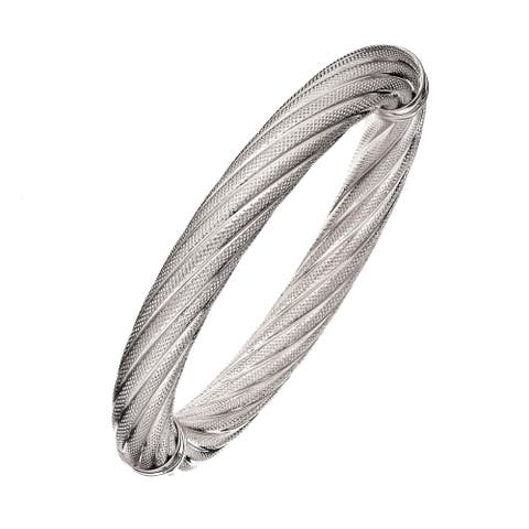 Isla Simone - Fine Silver Electro Plated 10MM Twisted Textured Bangle