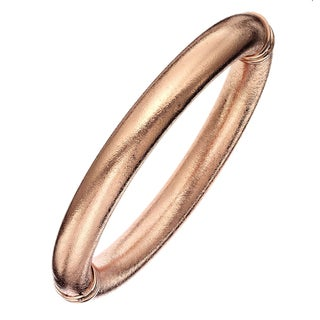 Isla Simone - 18 Karat Rose Gold Electro Plated 10MM Mill Grained Bangle