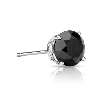 Auriya 14k Gold 1/4ct TDW 4-Prong Push-Back Round Cut Black Diamond Single Stud Earring